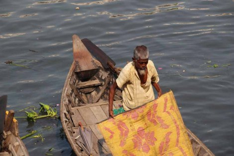 A man sorting his boat