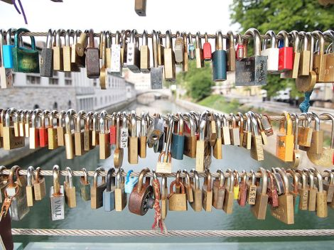 Love Locks in Ljubljanica, Slovenia