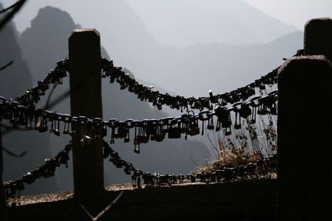 Love Locks around Mount Huang in China